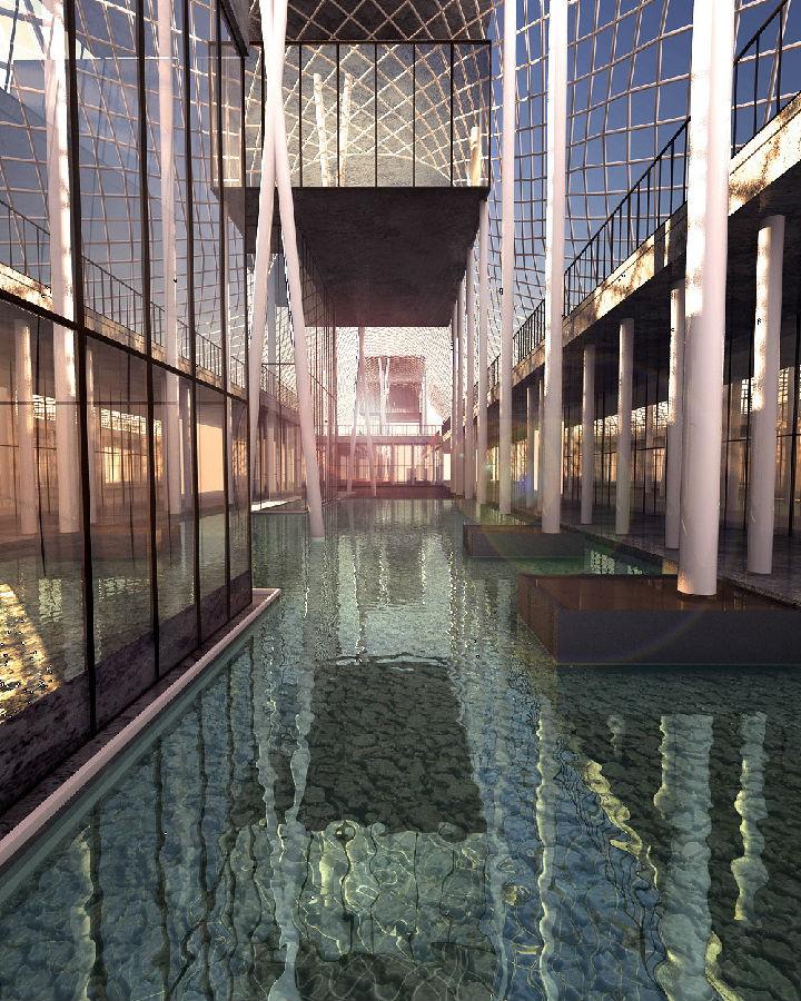 """dsmax建筑效果图作品-下午的水建筑"""""""