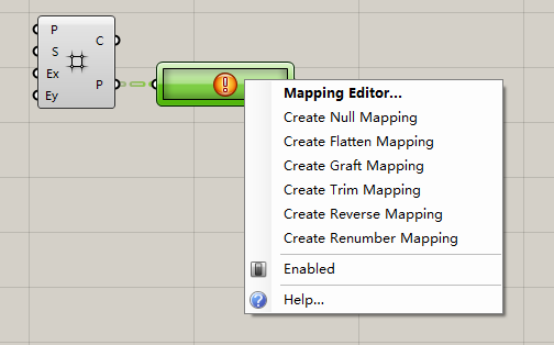 Mapping Editor...  Create Null Mapping  Create Flatten Mapping  Create Graft Mapping  Create Trim Mapping  Create Reverse Mapping  Create Renumber Mapping  Enabled  Help...