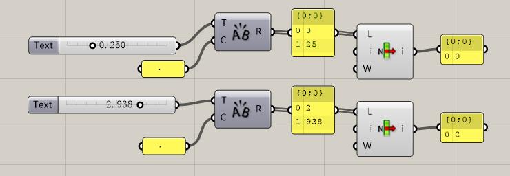 grasshopper浮点数转化为整数的方法-字符串分割法